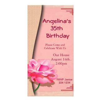 Pink Rose Happy Birthday Photo Greeting Card