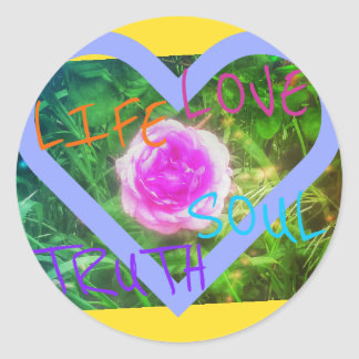 PINK ROSE HEART affirmations large round sticker
