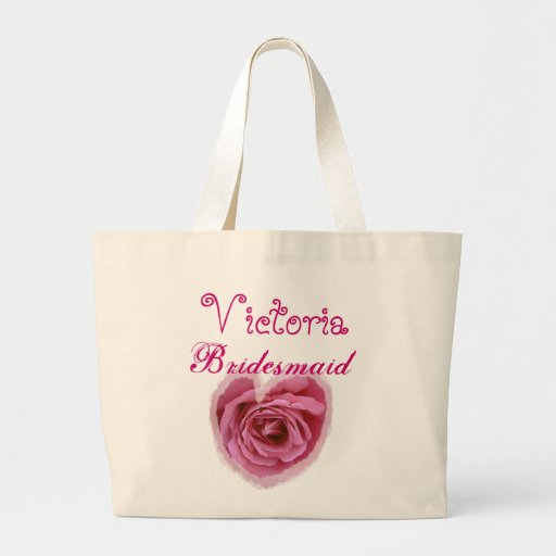 Pink Rose Heart Personalized Bridesmaid Canvas Bag