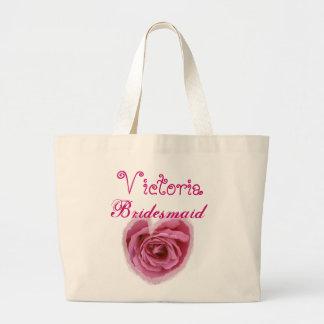 Pink Rose Heart Personalized Bridesmaid Jumbo Tote Bag