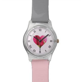 Pink Rose Heart Watch