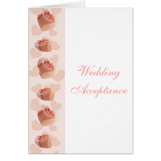 Pink Rose Hearts Wedding Acceptance Greeting Card