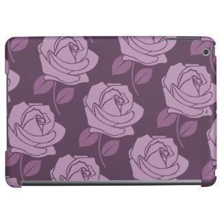 Pink Rose Horizontal Big Pattern on Plum iPad Air Case