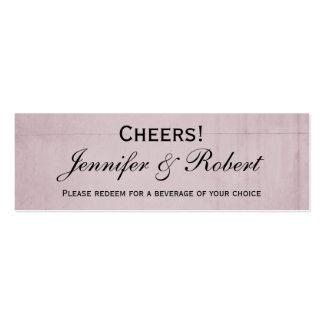 Pink Rose Hummingbird Wedding Drink Ticket Business Card