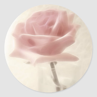 Pink Rose Impression Round Sticker