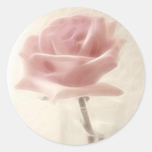Pink Rose Impression Round Sticker