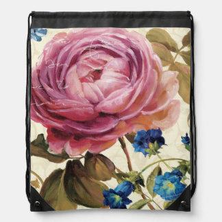 Pink Rose in Full Bloom Drawstring Bag