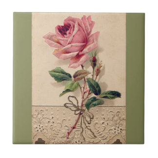 Pink Rose & Lace Floral Romance Vintage Small Square Tile