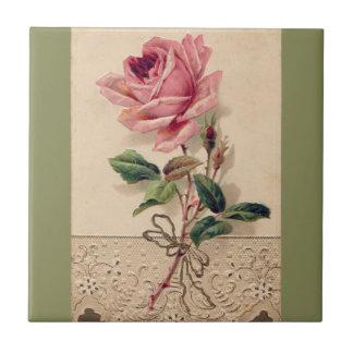 Pink Rose & Lace Floral Romance Vintage Tile