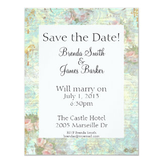 Pink Rose & Lace Save the Date Custom Invitations