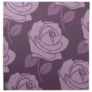 Pink Rose Large Pattern on Plum Napkin