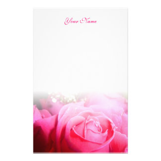 Pink Rose Letterhead Stationery Paper