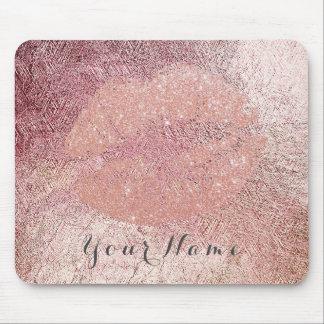 Pink Rose Lilac Gold Metal Name Makeup Lips Kiss Mouse Pad