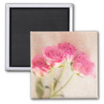 Pink Rose Marble Stone Background Collage Roses Square Magnet