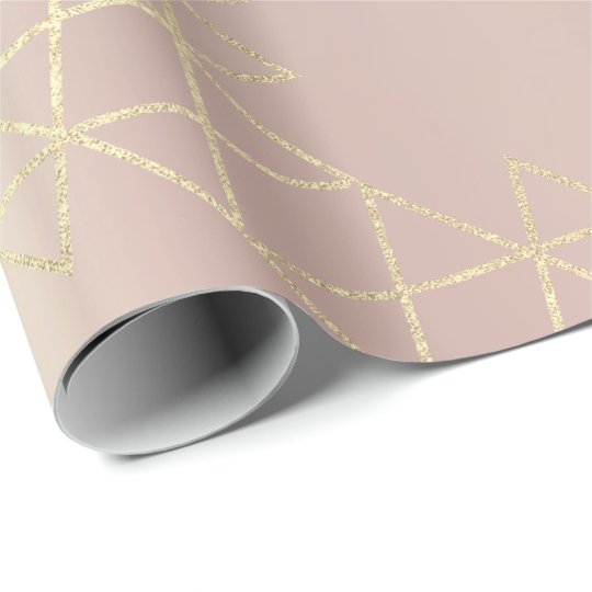 Pink Rose Metallic Gold Hexagon Geometry Champaign Wrapping