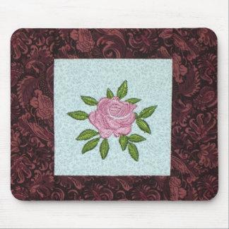 Pink Rose Mini Quilt Block Mouse Pad