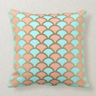 Pink Rose & Mint Gold Print Pillow