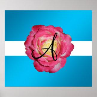 Pink rose monogram print