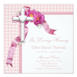 Pink Rose Mourning Cards 13 Cm X 13 Cm Square Invitation Card