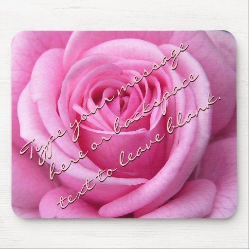 Pink Rose Mousepad Personalized Rose Mousepad