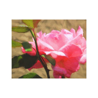 Pink Rose Oil Painting on-Canvas Prints Single Stretched Canvas Prints