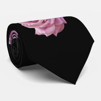 Pink Rose on Black Tie