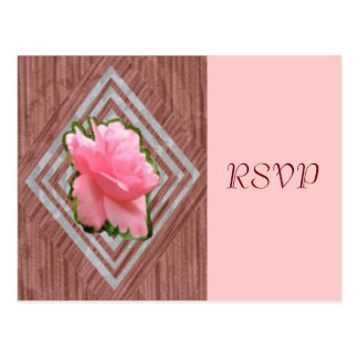 Pink Rose on Lace, Post Card