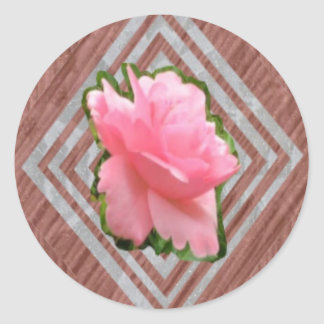 Pink Rose on Lace Round Sticker