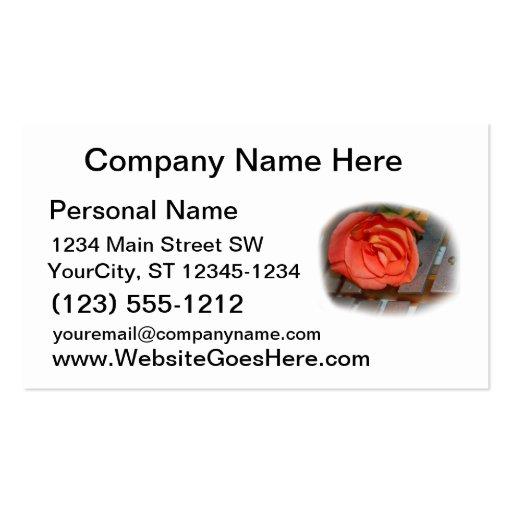 Pink Rose on Metal Mallet Bells Business Cards