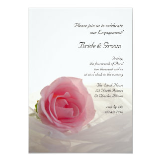 "Pink Rose on White Engagement Party Invite 5"" X 7"" Invitation Card"