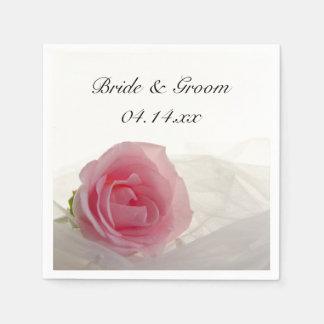 Pink Rose on White Wedding Disposable Napkin