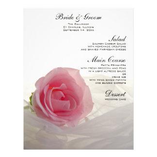 Pink Rose on White Wedding Menu 21.5 Cm X 28 Cm Flyer
