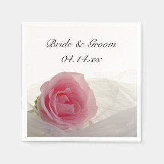 Pink Rose on White Wedding Paper Napkin
