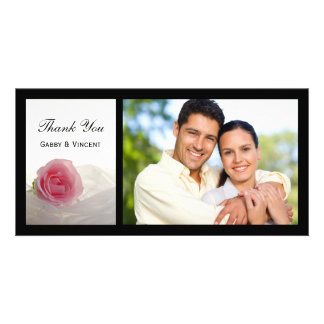 Pink Rose on White Wedding Thank You Personalised Photo Card