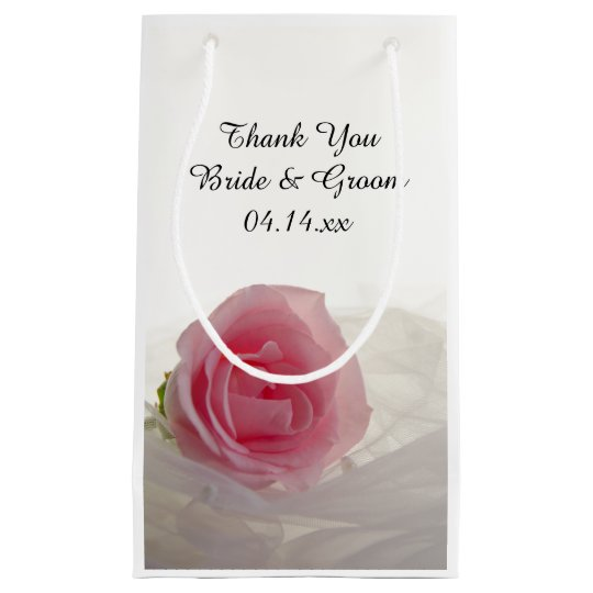 Pink Rose on White Wedding Thank You Small