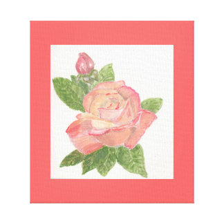 Pink Rose Painting Stretched Canvas Prints