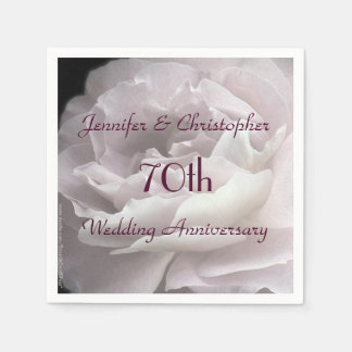 Pink Rose Paper Napkins, 70th Wedding Anniversary Disposable Napkins