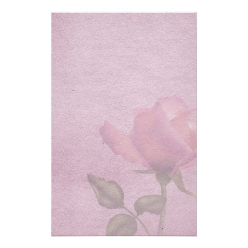 Pink Rose Parchment Stationery