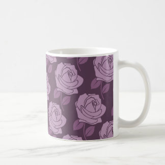 Pink Rose Pattern on Plum Coffee Mug