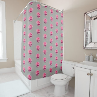 Pink Rose Pattern Shower Curtain