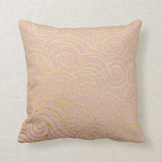 Pink Rose Peach Gold Powder Metallic Shiny Waves Throw Pillow