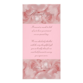 Pink rose pearls thank you cards parties functions photo greeting card
