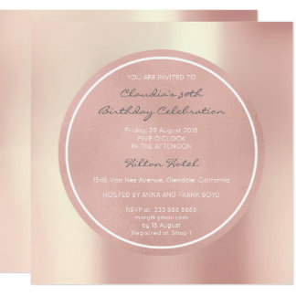 Pink Rose Pearly Blush Foxier Metallic Round Vip Card