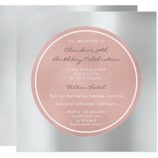 Pink Rose Pearly Blush Silver Gray Metallic Circle Card