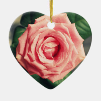 Pink rose personalised heart christmas decor christmas ornament