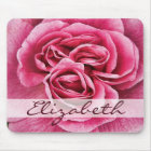 Pink Rose Personalised Mouse Mat