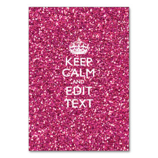 Pink Rose Personalized KEEP CALM AND Your Text Table Card