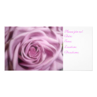 pink rose personalized photo card