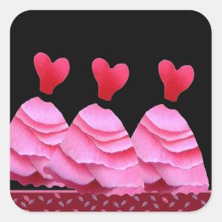 Pink Rose Petal Bridesmaid Dresses - Heart Bodices Square Sticker