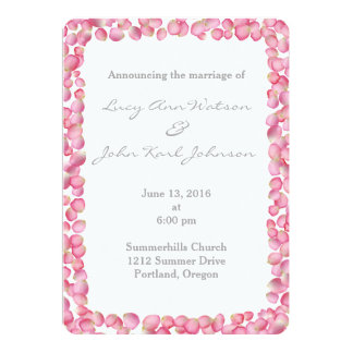 Pink rose petals custom wedding invitation